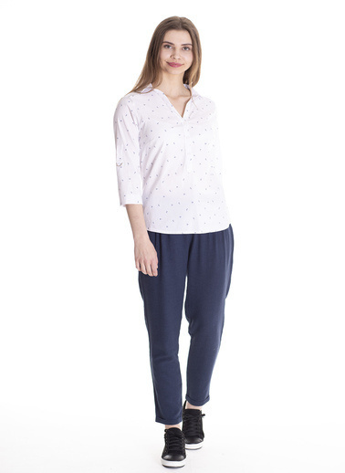 Stamina Kolları D Halkalı Desenli Bluz Beyaz